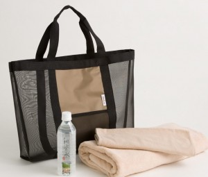 Yoga Bag, Water, and Towel